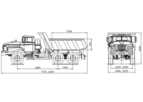 Самосвал Урал 55571 (58312A, аналог 583100) (Код модели: 1101)