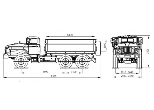 Самосвал с боковой разгрузкой Урал 55571 (58312C) (Код модели: 1201)
