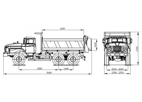 Самосвал с трехсторонней разгрузкой Урал 55571 (58312F) (Код модели: 1302)
