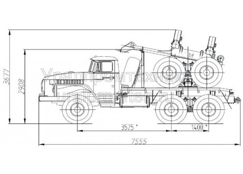 Трубоплетевозный автопоезд: автомобиль-тягач Урал-55571 с прицепом-роспуском 9047T (Код модели: 4201)