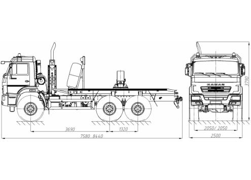 Тягач трубовозный КамАЗ 43118 с самопогрузкой труб (59601A) (Код модели: 4106)