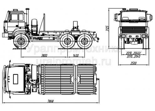 Тягач трубоплетевозный Урал 55571 (59602B) (Код модели: 4102)