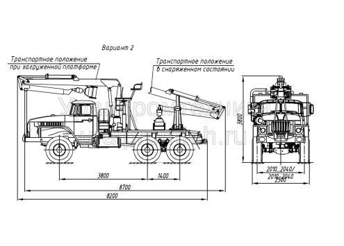 Лесовозный тягач с гидроманипулятором на шасси Урал (59602C) (Код модели: 4402)