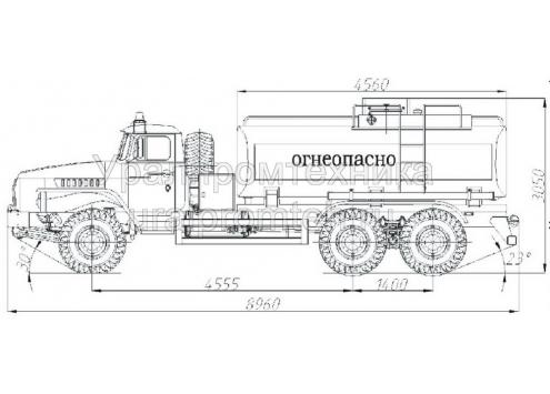 Автотопливозаправщик АТЗ-10 (длиннобазовое шасси Урал-4320) (Код модели: 2101)