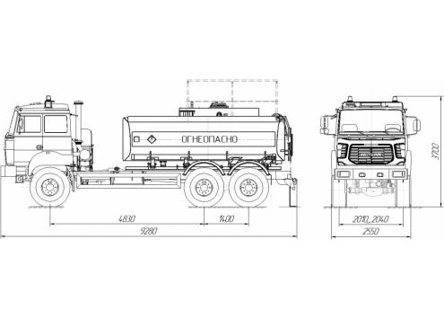 Автотопливозаправщик АТЗ-10 6601А1 (безкапотное шасси Урал 4320) (Код модели: 2102)