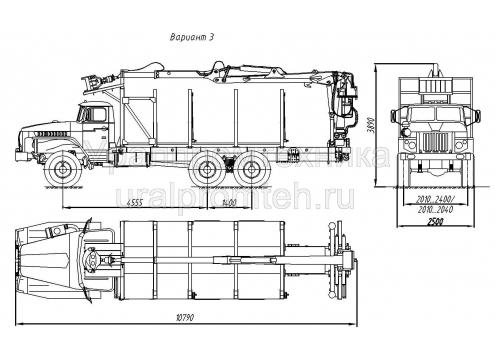 Сортиментовоз с гидроманипулятором на заднем свесе на шасси Урал 4320 (69022N) (Код модели: 4702)
