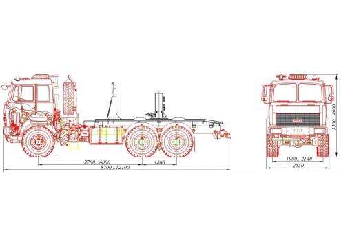 Трубоплетевозный автопоезд: автомобиль-тягач МАЗ-6371X5 с прицепом-роспуском 904706 (Код модели: 4206)