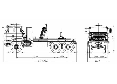 Тягач трубоплетевозный Урал-6370 газомоторный (6902G2) (Код модели: 4111)