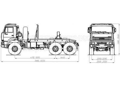Тягач трубоплетевозный КамАЗ 65224 (69601B) (Код модели: 4107)