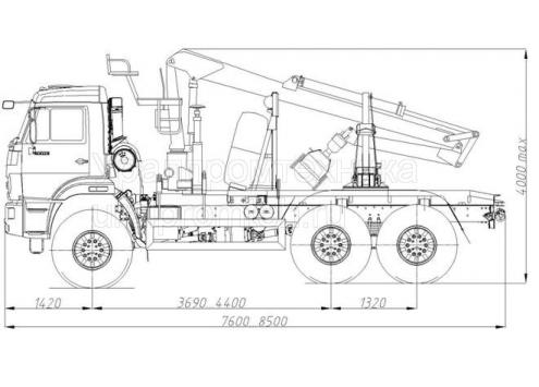 Лесовозный автопоезд: автомобиль-тягач Камаз-43118 с манипулятором, прицеп-роспуск 9047L (Код модели: 4505)
