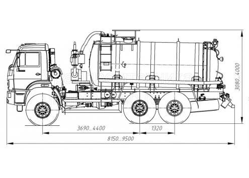 Машина вакуумная МВ-10  66031A (шасси КамАЗ 43118) (Код модели: 2302)
