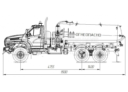 Автомобиль для сбора нефтеконденсата АКН-10 (шасси Урал-NEXT)