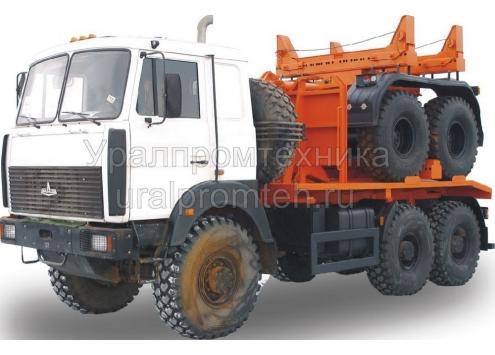 Тягач трубоплетевозный МАЗ 6317X5 с прицепом роспуском