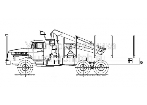 Сортиментовоз Урал 4320 с манипулятором за кабиной