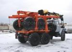 Прицеп роспуск на лесовозе Урал с манипулятором